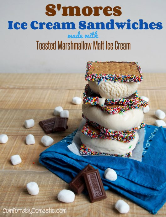 S'mores Ice Cream Sandwiches with Toasted Marshmallow Malt Ice Cream | ComfortablyDomestic.com