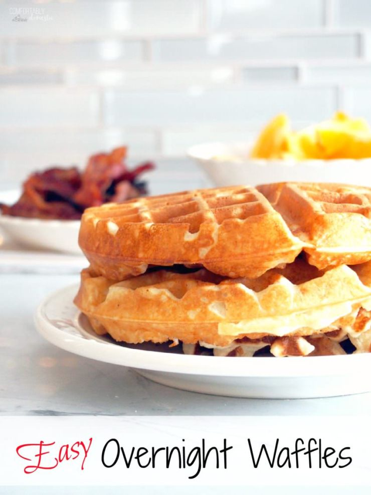 Easy-Overnight-Waffles are made with a simple yeast batter that comes ...