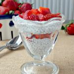 Strawberries-and-Cream-Chia-Pudding-Parfaits layer ripe strawberries with a creamy pudding that is full of antioxidants, Omega-3s, calcium, protein, and fiber with the pleasant texture similar to tapioca.