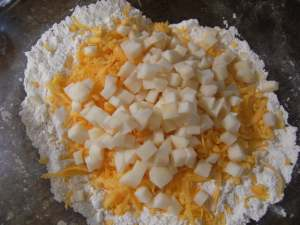 some of the ingredients needed to make cheddar-apple scones
