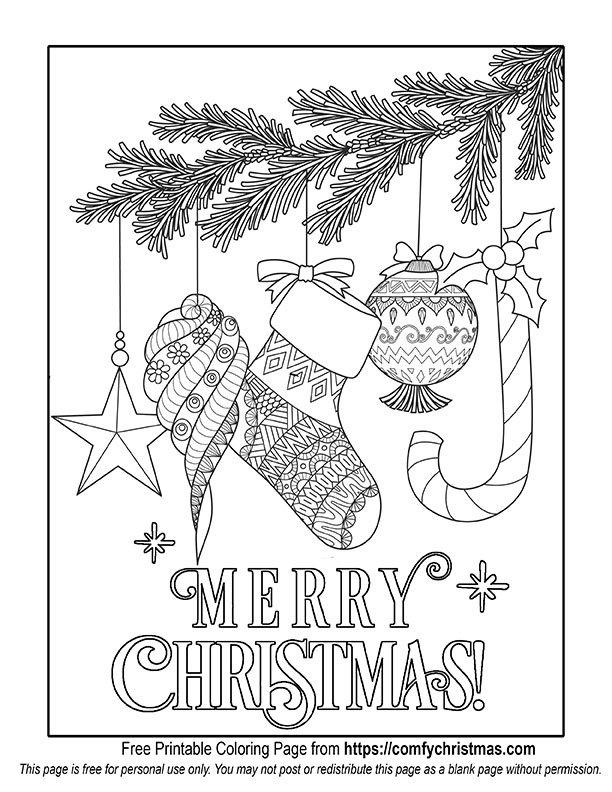 Free Printable Christmas Coloring Pages \u2022 Comfy Christmas