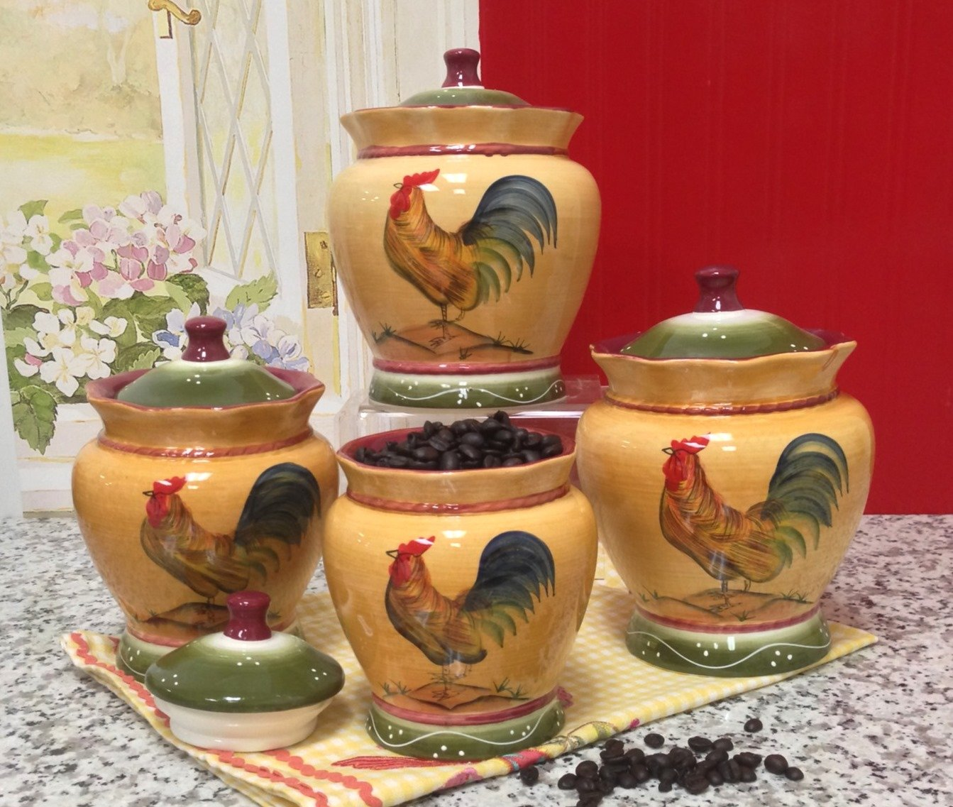 Red Rooster Coffee Garden Valley Country Kitchen Canister Sets Perfect Gift For Country