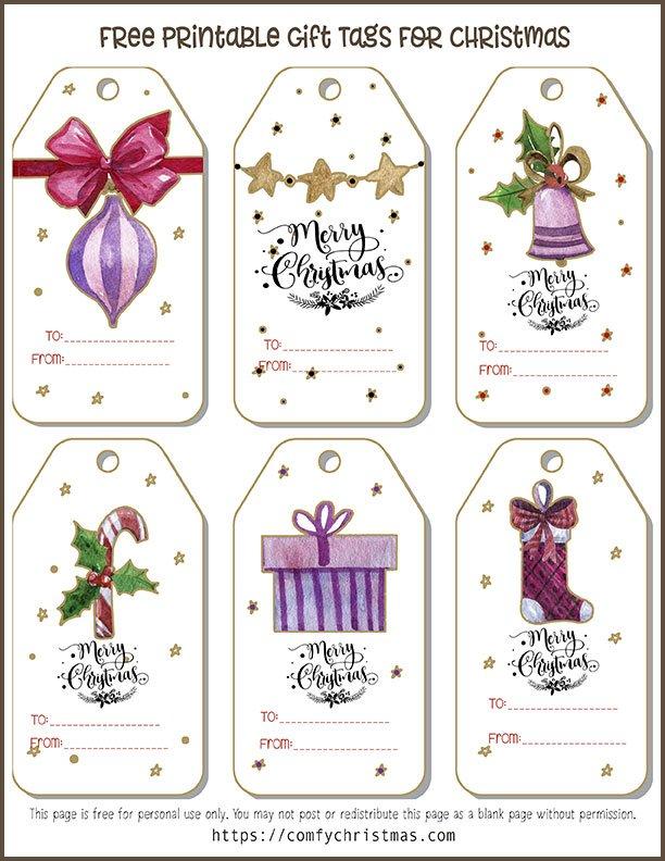 Free Printable Gift Tags For Christmas \u2022 Comfy Christmas