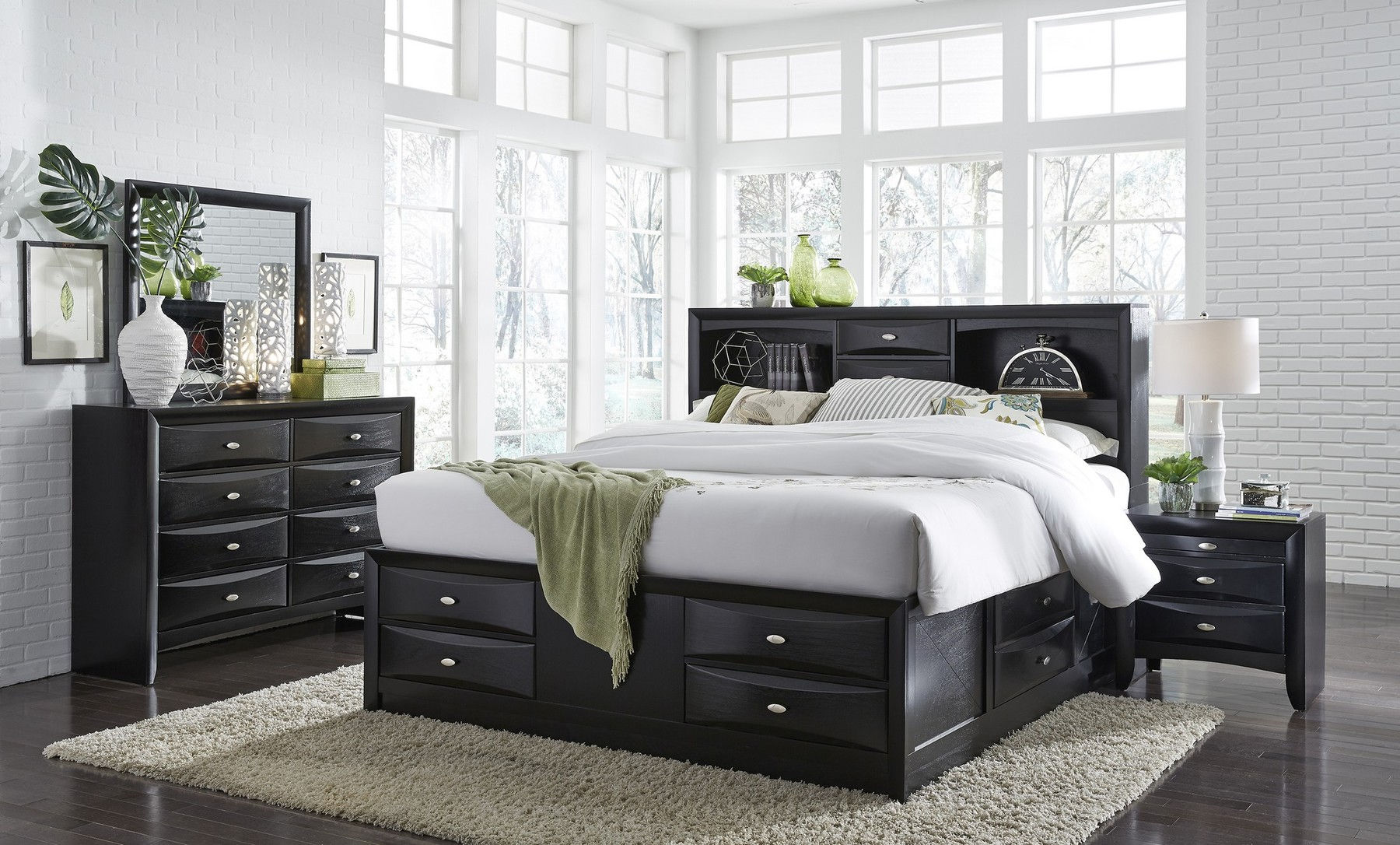 Linda Black Queen Size Bed Linda Towslee Global Furniture Usa Modern Beds Comfyco Furniture