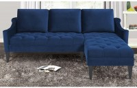 Fabric Left Corner Wooden Sofa Navy Blue  Comfychest178 ...