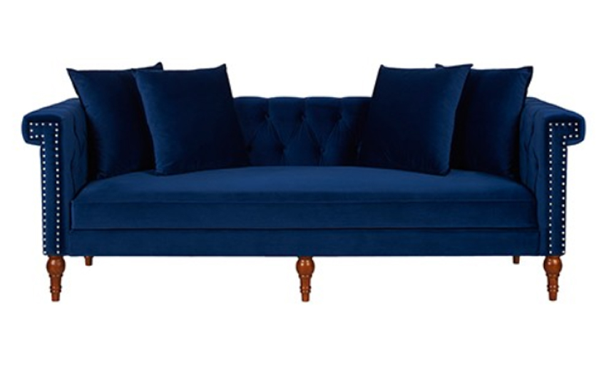 Chesterfield Sofa Navy Fabric Wooden Chesterfield Sofa - Navy Blue - Comfychest163