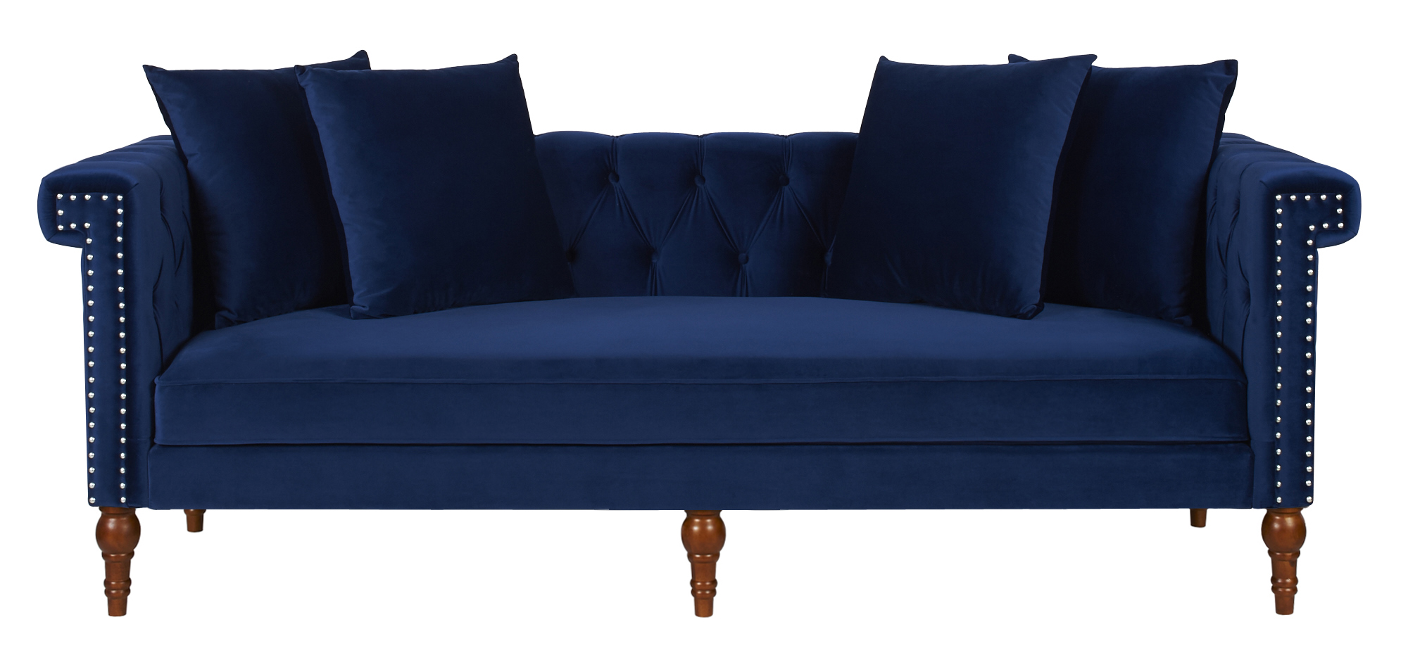 Chesterfield Sofa Navy Fabric Wooden Chesterfield Sofa – Navy Blue
