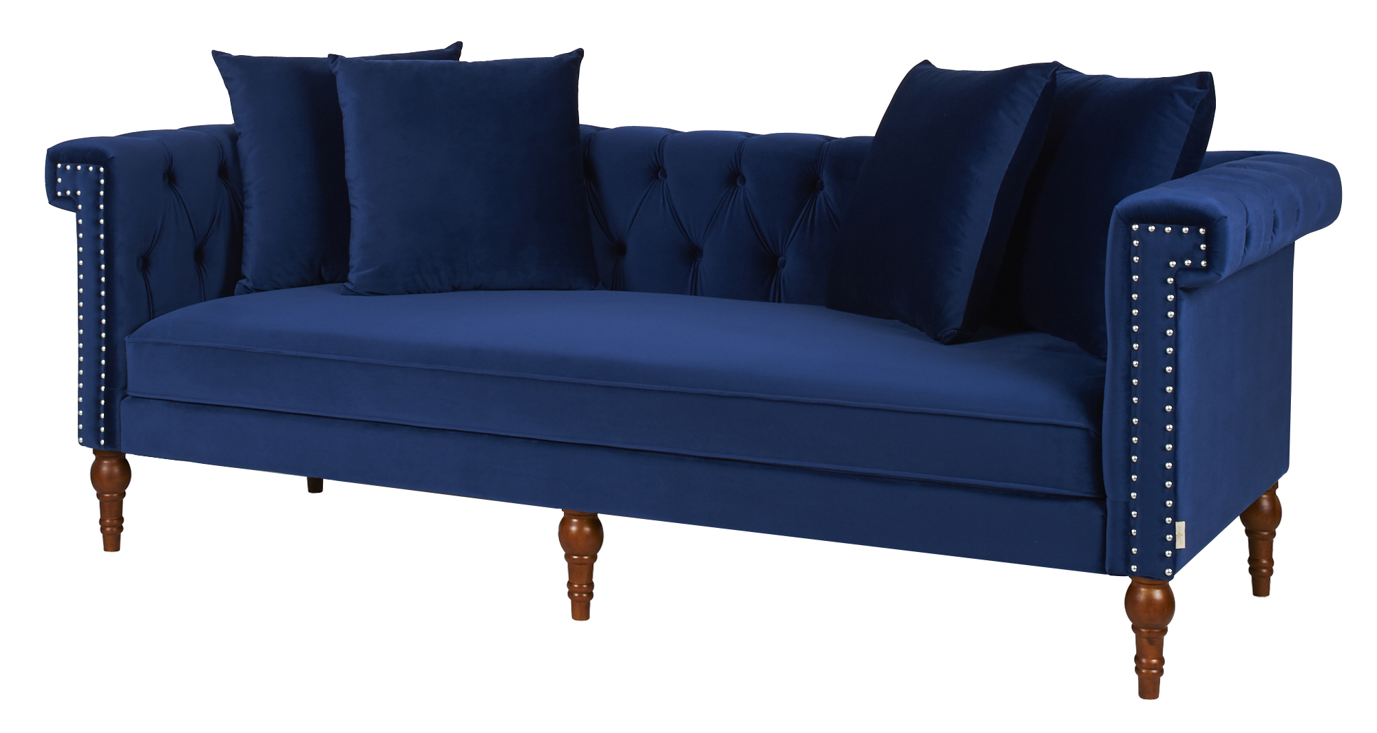Chesterfield Sofa Navy Fabric Wooden Chesterfield Sofa - Navy Blue - Comfychest157