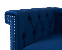 Fabric Wooden Chesterfield Sofa  Navy Blue ...