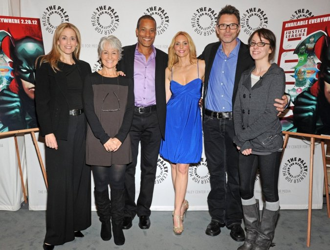 Susan Eisenberg, Andrea Romano, Phil Morris, Olivia d'Abo, Tim Daly, Lauren Montgomery. Photo by Kevin Parry for Paley Center