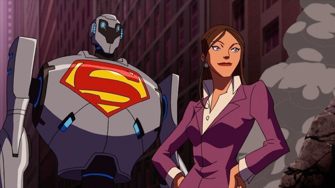 Lois and a super-robot in Superman vs. the Elite