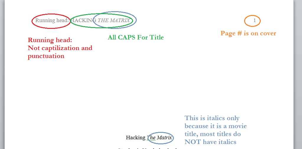 Cover Page APA Tips - how to do a cover page