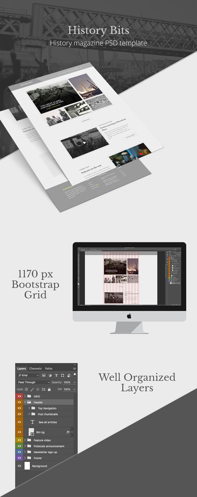 History Bits PSD web template