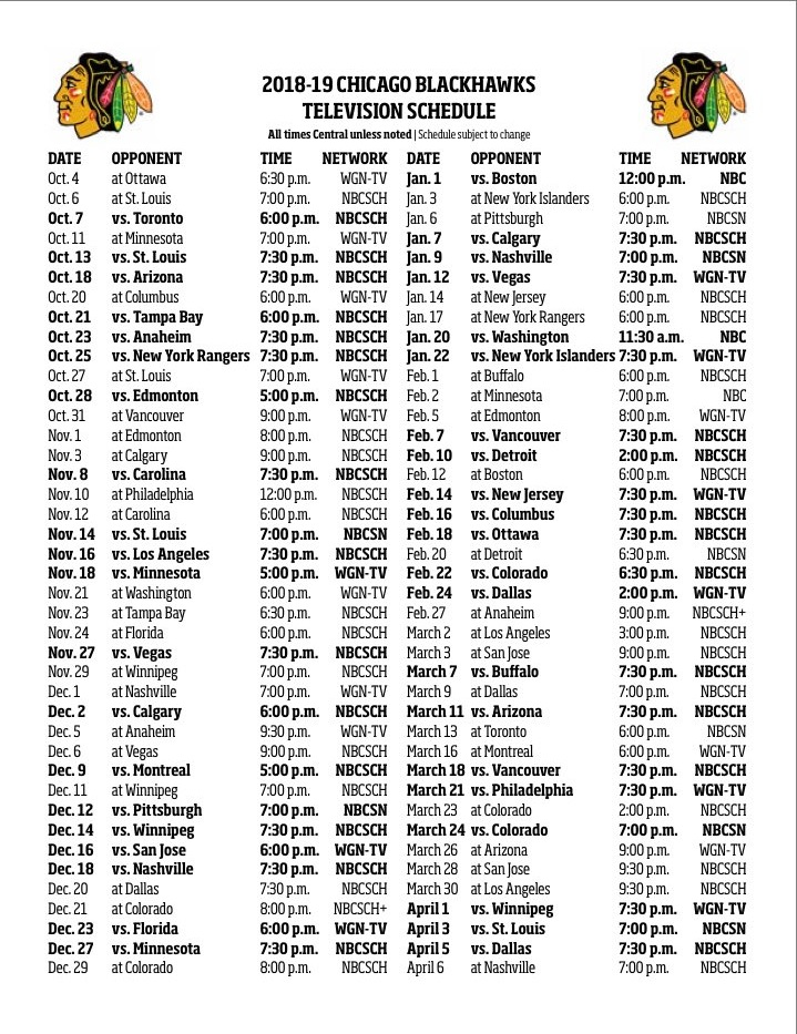 Blackhawks Release 2018-19 Television Schedule Committed Indians - how to make a league schedule