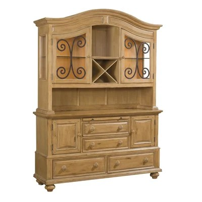 Image of Broyhill Bryson China Cabinet with Hutch in Warm Pine Stain (BRH4541)