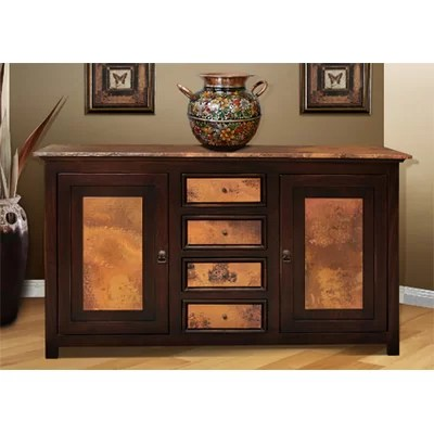Image of Artisan Home Furniture Console Table with Hammered Copper Panels (WP1735)