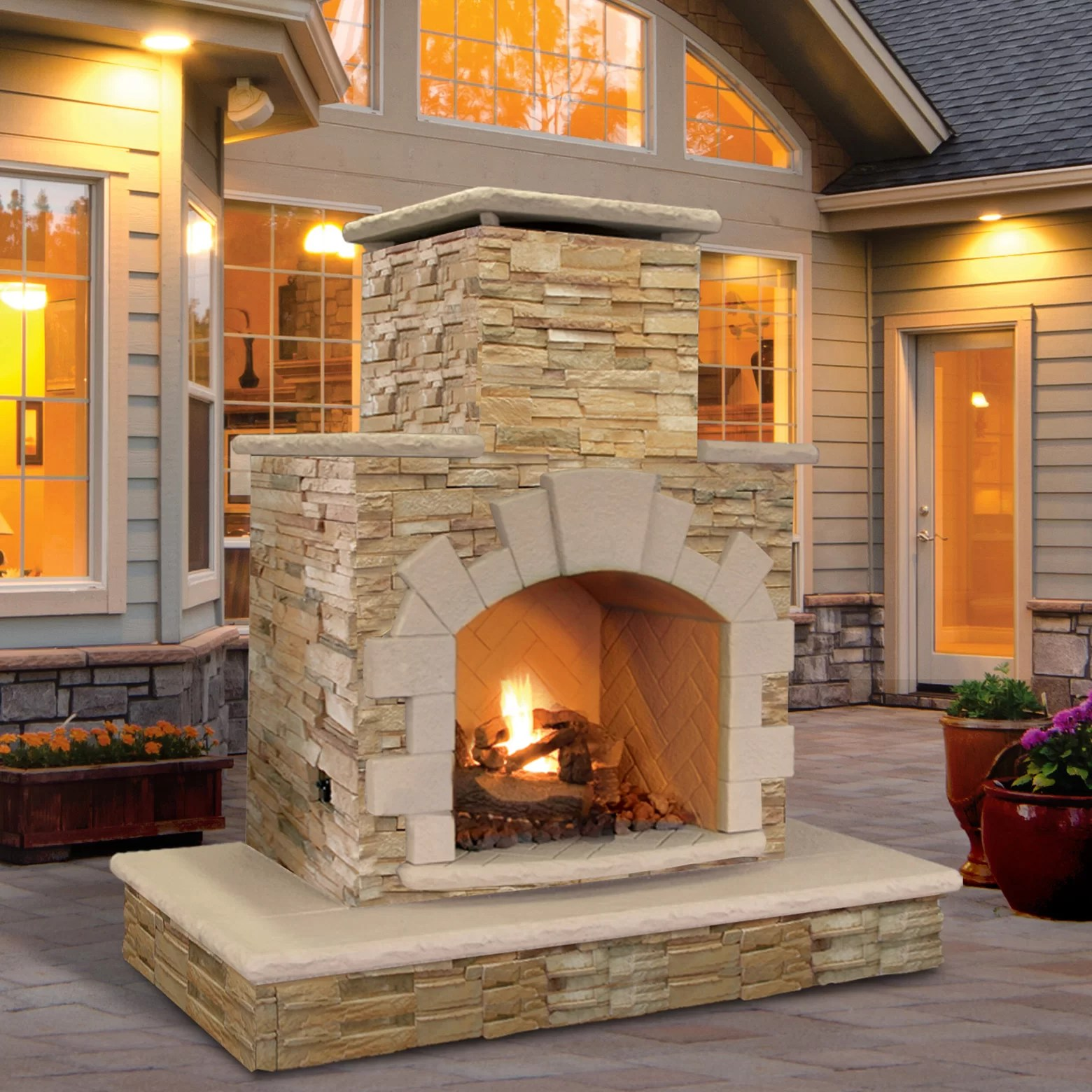 Outdoor Fireplace Materials Calflame Natural Stone Propane Gas Outdoor Fireplace Ebay