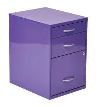 OSP Designs 3-Drawer Metal File Cabinet Purple | eBay