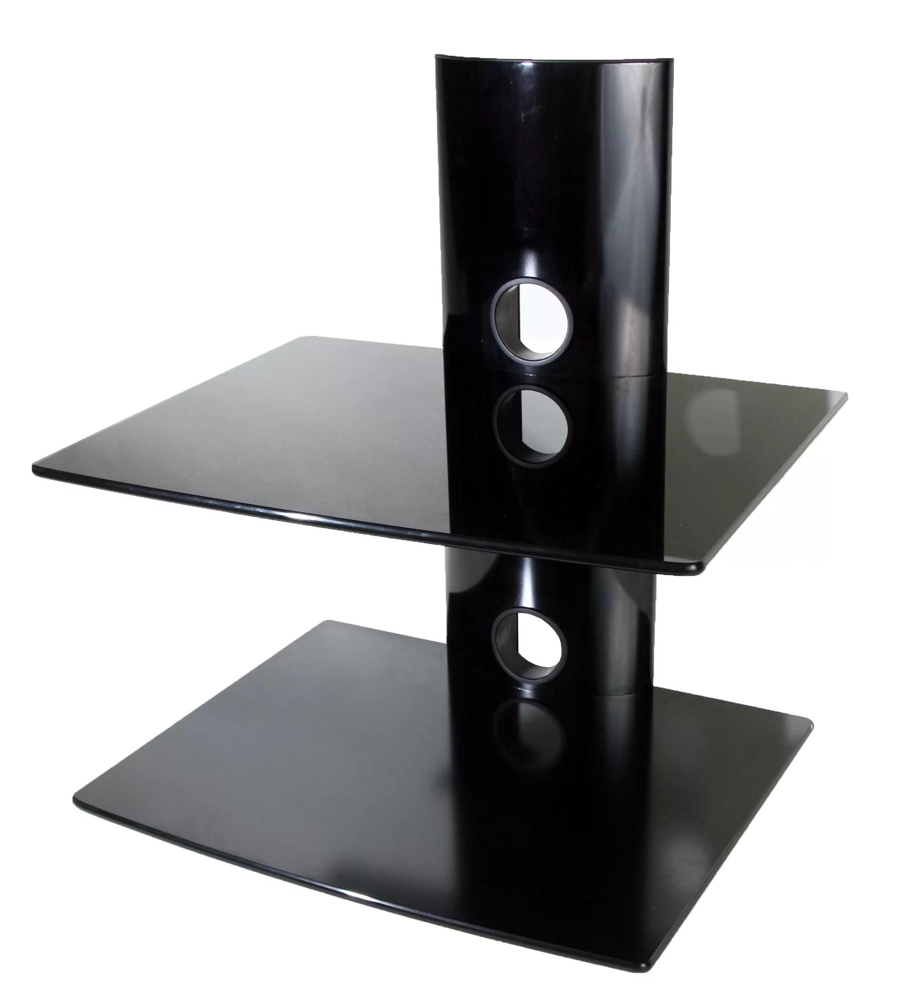Mount It Dual Glass Dvd Dvr Component Wall Mount Shelf Ebay