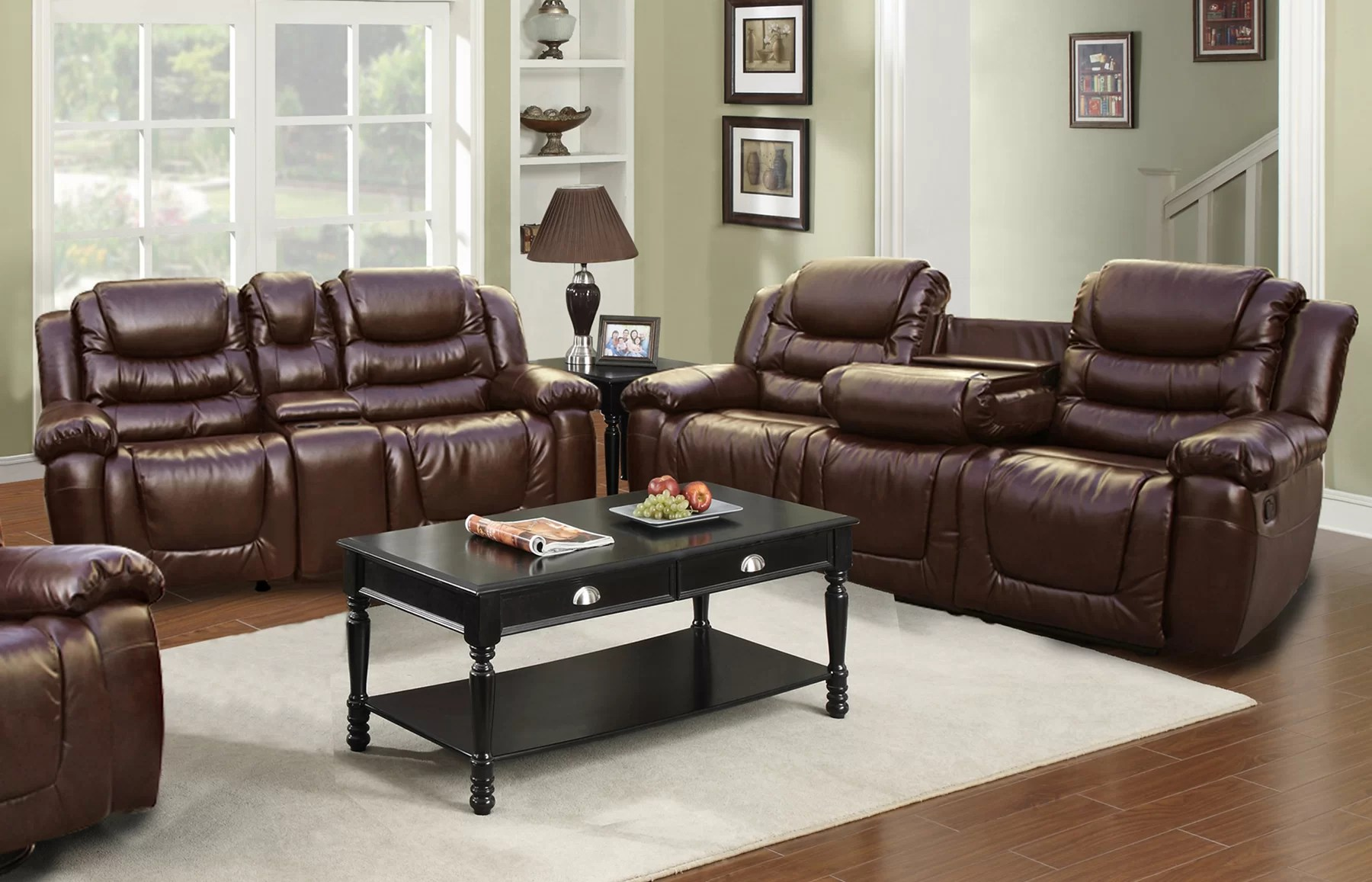 Sofa Set For Sale Ebay Ottawa 2 Piece Bonded Leather Reclining Living Room Sofa