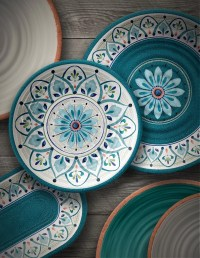 TarHong Moroccan Medallion 12 Piece Melamine Dinnerware ...