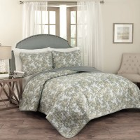 Traditions by Waverly Tulip Toile 3 Piece Quilt Set | eBay