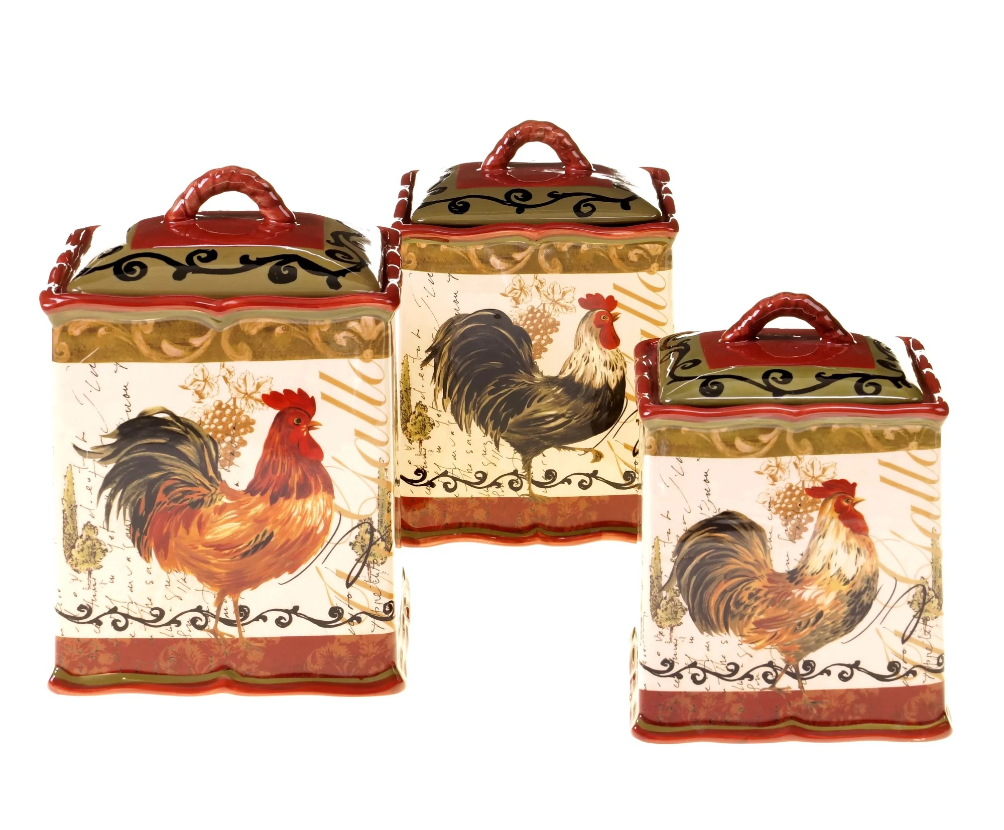 Fruit Themed Kitchen Decor Collection Certified International Tuscan Rooster 3 Piece Kitchen