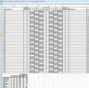 Add 84 Poles Panel Schedule - AECOsim speedikon Wiki - AECOsim - panel schedule template