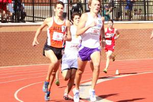 Aledo long-distance runner Harrison Tillman, shown far left at the Region I meet, finished seventh in the boys' 3,200-meter run Thursday at the Class 5A state meet in Austin. Tillman ran a time of 9:42.3 to break his own school record.