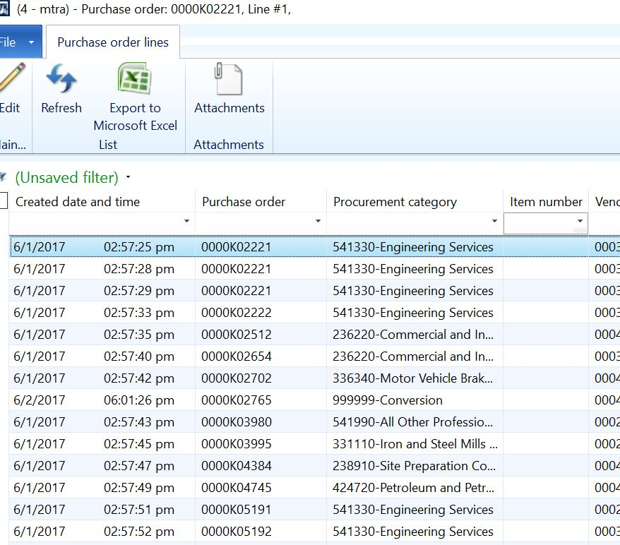 Purchase Order Lines list page \u003e how to Filter the Records