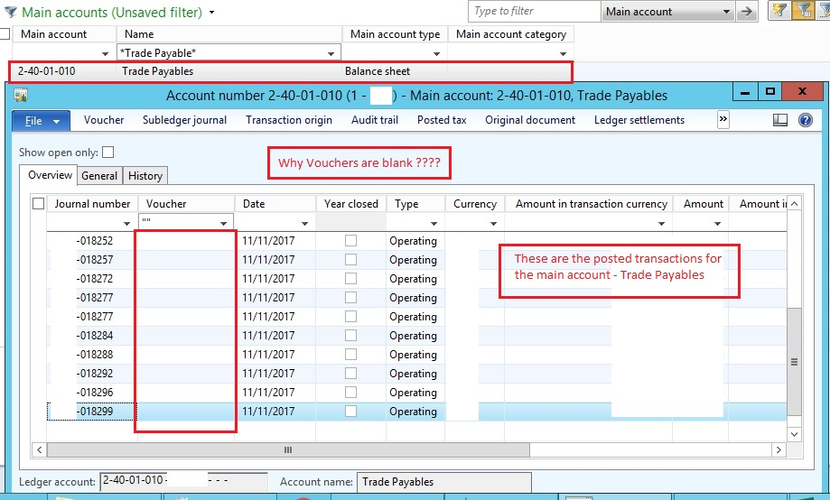 Transactions with Blank Voucher Numbers in the Posted Transactions - blank voucher