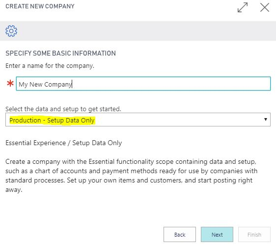 Creating a new Company - Production - Setup Data Only - Dynamics 365