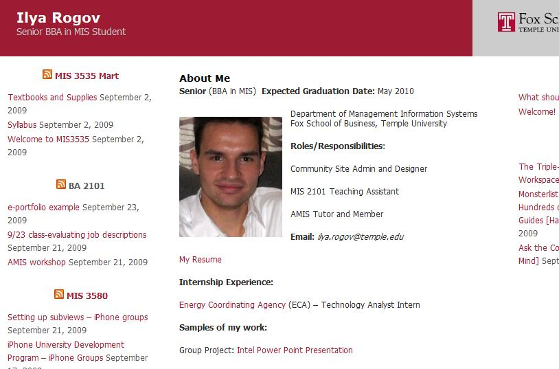 e-resume \u2013 Temple MIS