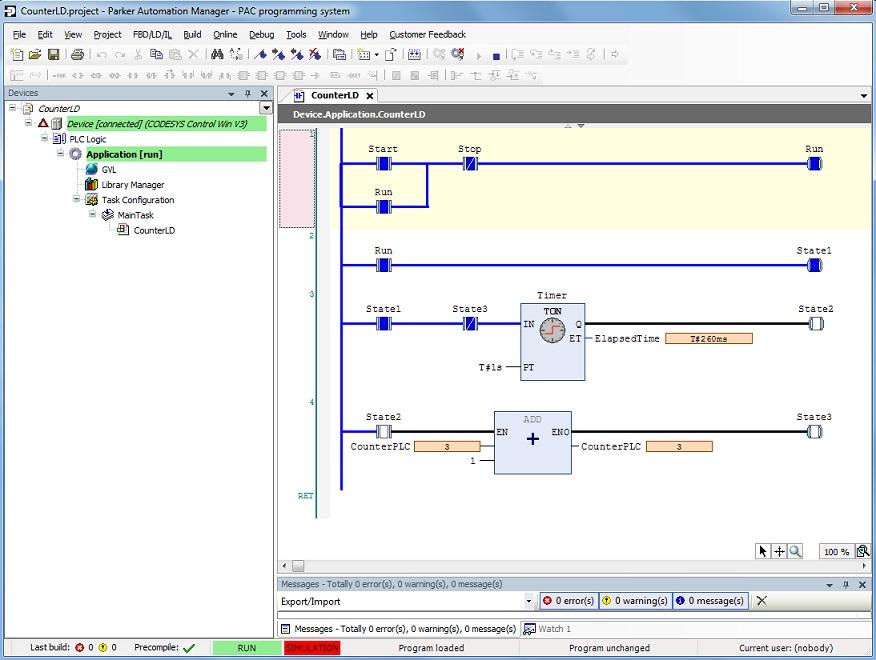 Sample Ladder Logic LD Program Time based counter