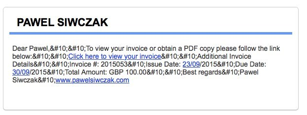 Email formatting error when sending invoices - bug (solved) - QuickFile