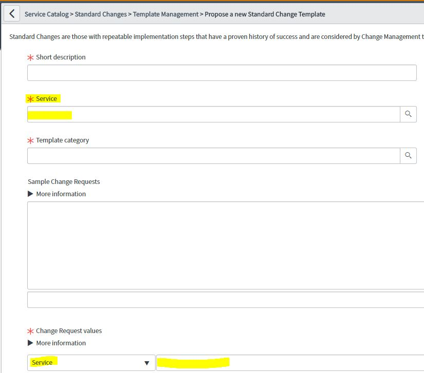 Standard change Template variable update change request value