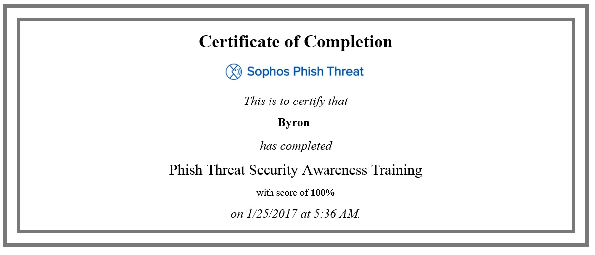 End user Training Campaign, not confirmation email with completion - certificate of completion training