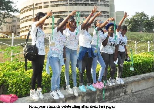 Final year students celebrating after their last paper