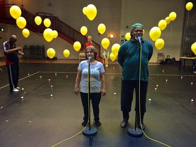 Connie Hodgson & Namron in rehearsal