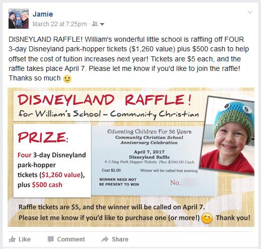 Disneyland Raffle Ticket Template for Social Media - Community