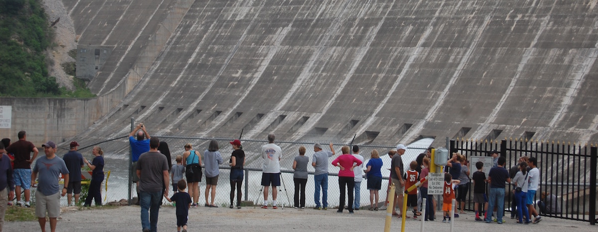 For the first time since 2007, a floodgate at Mansfield Dam on Lake Travis opened April 25.
