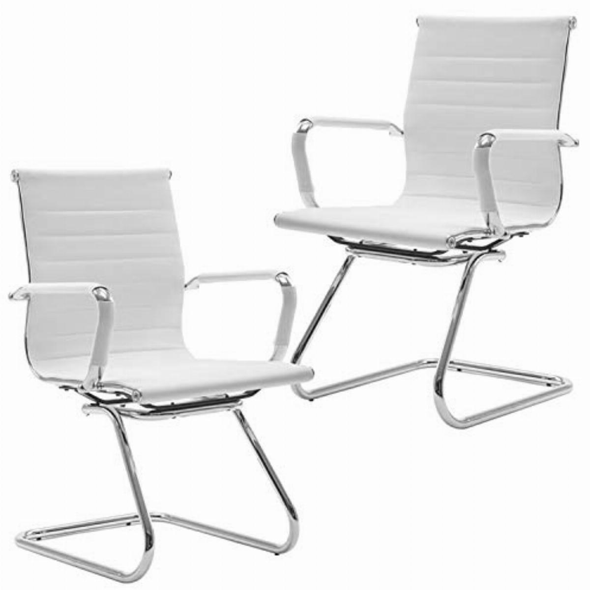 Https Www Comparus Co Uk Products Wahson Meeting Office Chairs Set Of 2 Reception Chairs In Pu Leathervisitors Chair With Chrome Frameguest Chairs White 1035842 Htm