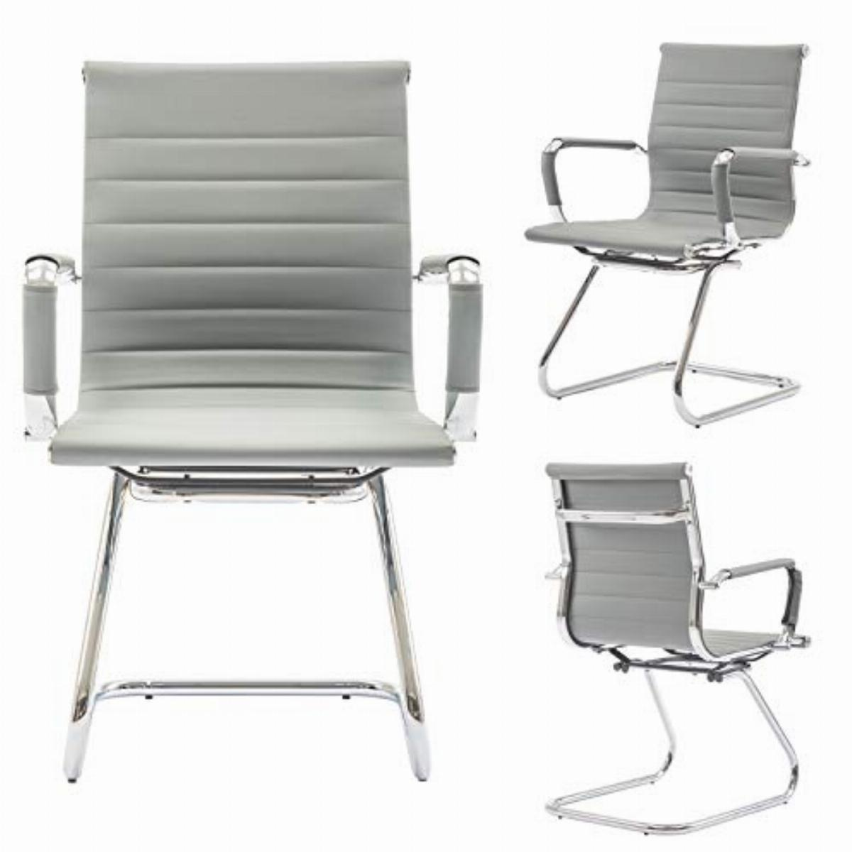 Wahson Meeting Office Chairs Set Of 2 Reception Chairs In Pu Leather Visitors Chair With Chrome Frame Guest Chairs Grey