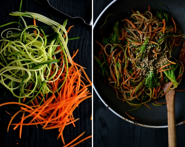 Soba noodles with julienne vegetables and tempeh