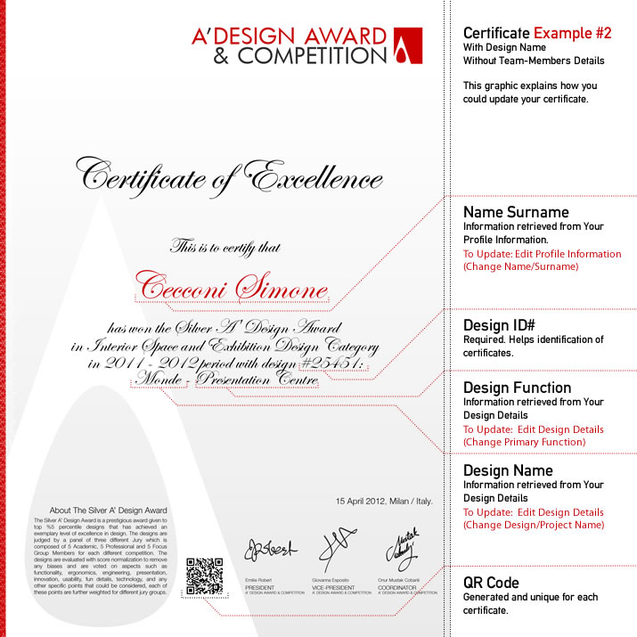 A\u0027 Design Award and Competition - Winners\u0027 Certificate