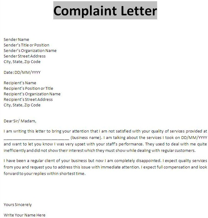 Complaint Letter All information about How to write a Complaint