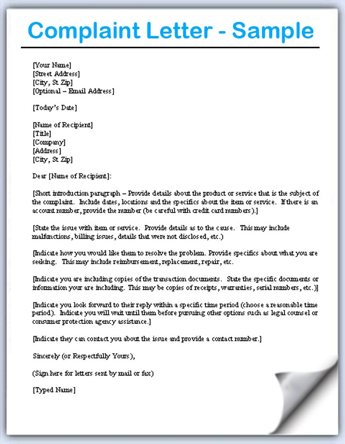 Complaint Letter All information about How to write a Complaint - complaint letter sample