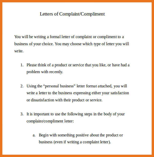 Complaint Letter All information about How to write a Complaint - Letter Of Intent Layout