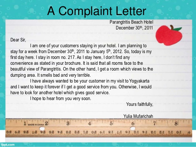Complaint Letter All information about How to write a Complaint - product complaint letter sample