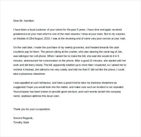 Get Free Complaint Against Manager Letter Sample Complaint Letter